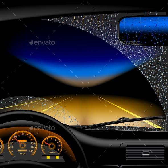 Night Road in Rain