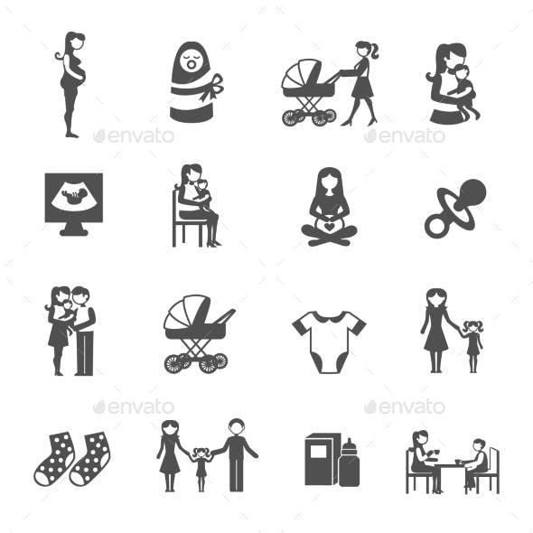 Motherhood Icons Set