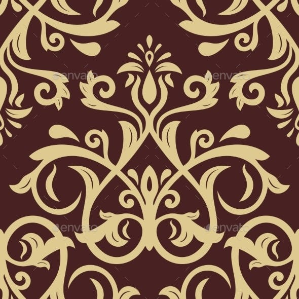 Damask Seamless  Pattern. Golden Background