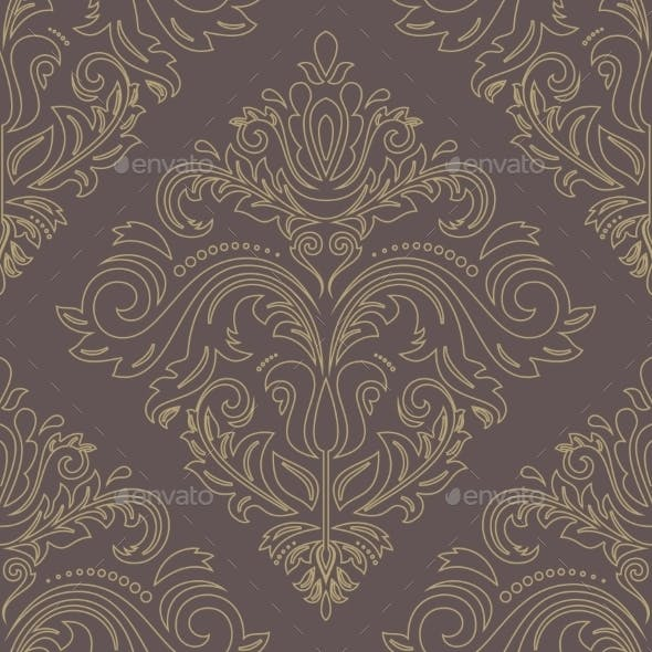 Damask Golden Seamless  Pattern. Orient Background