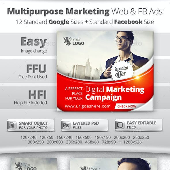 Multipurpose Marketing Web & Facebook Banners Ads