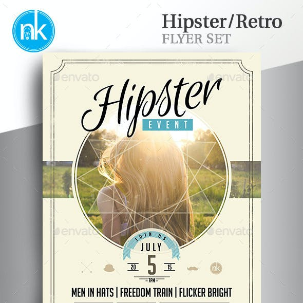Hipster / Retro Flyer Set