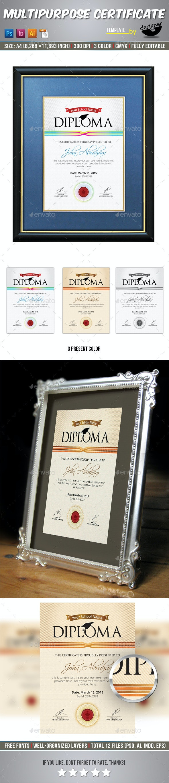 Diploma Certificate Template - Certificates Stationery