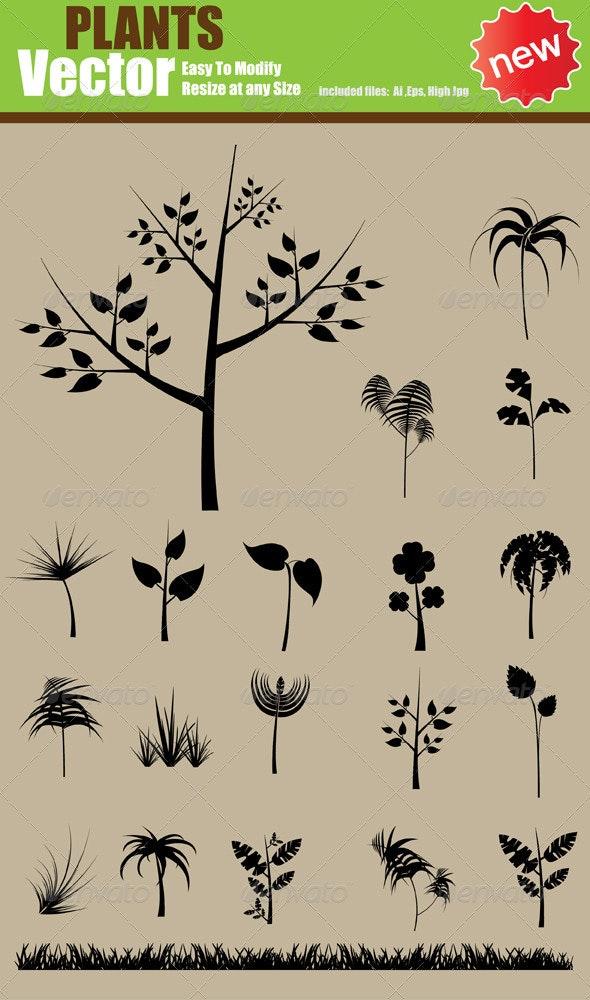Vector Plants  Silhouette Set - Flowers & Plants Nature