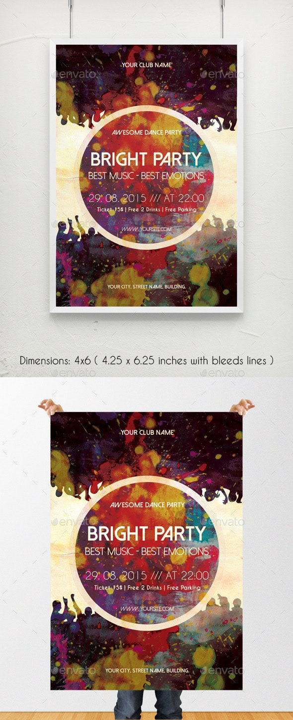Bright Party Music Poster Template - Clubs & Parties Events