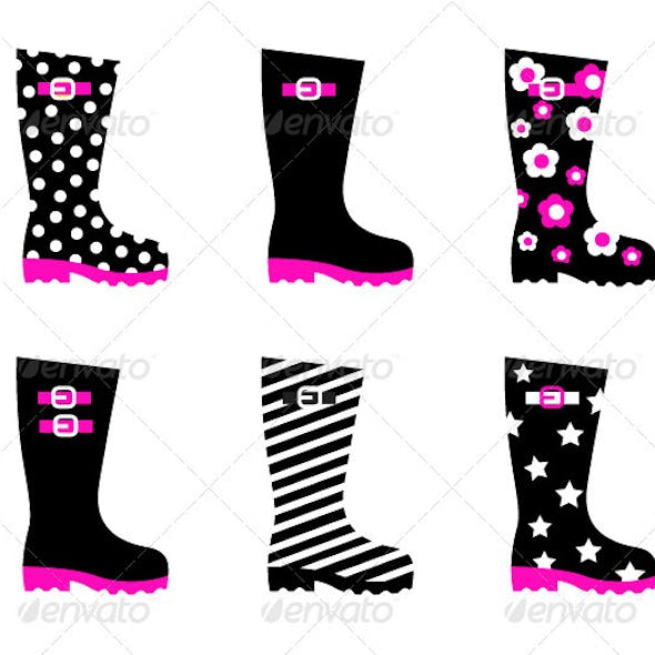 Retro patterned wellington black rain boots vector