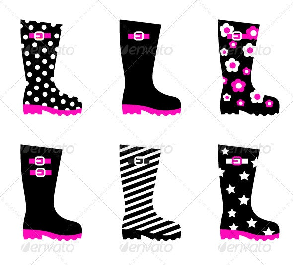 Retro patterned wellington black rain boots vector - Objects Vectors