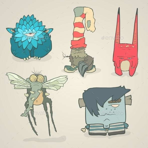 Vector Set Of Illustrations Cartoon Cute Monsters