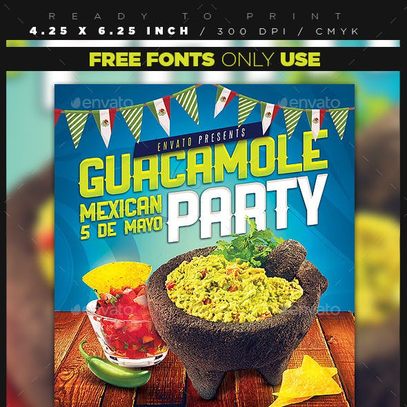 Guacamole Mexican Party Flyer