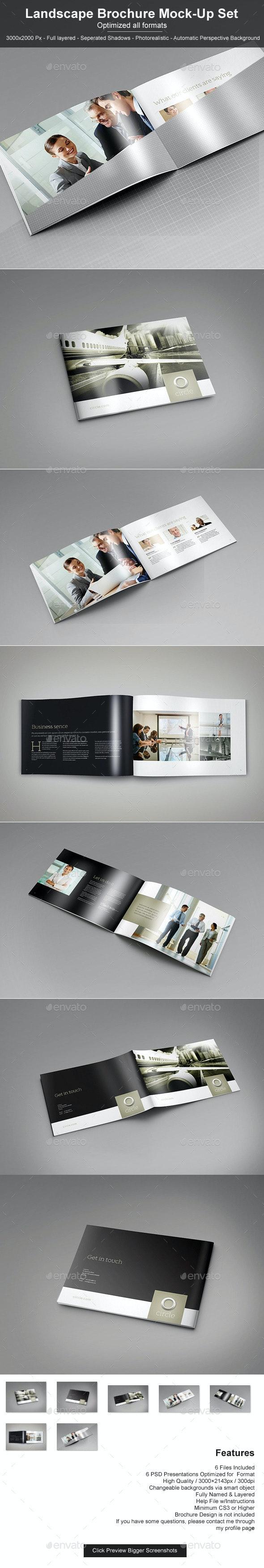 Landscape Brochure Mock-Up Set - Brochures Print