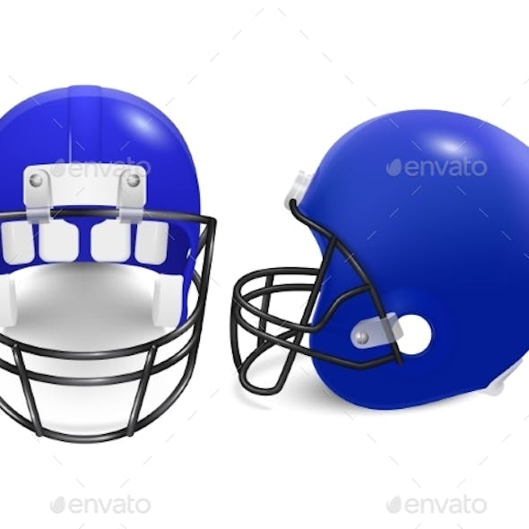 Two Vector Football Helmets - Front And Side View