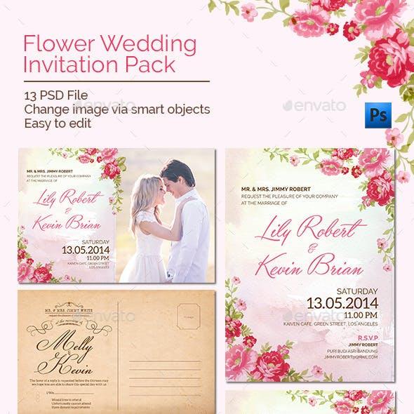Flower Wedding Invitation Pack