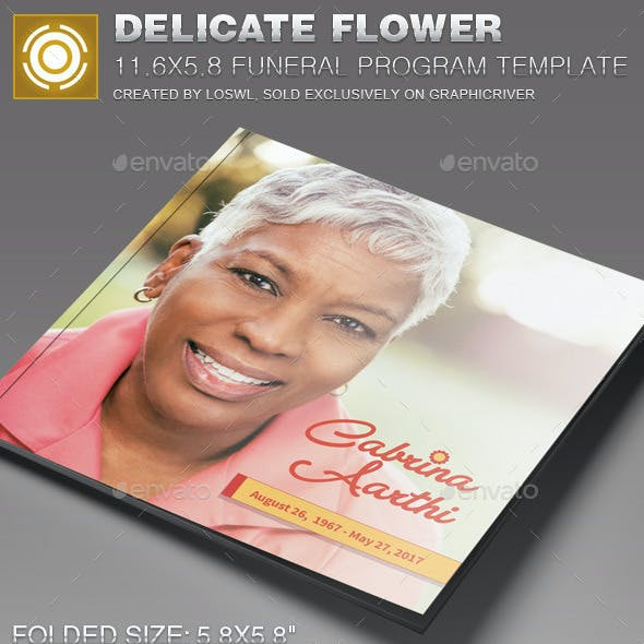 Delicate Flower Funeral Program Template