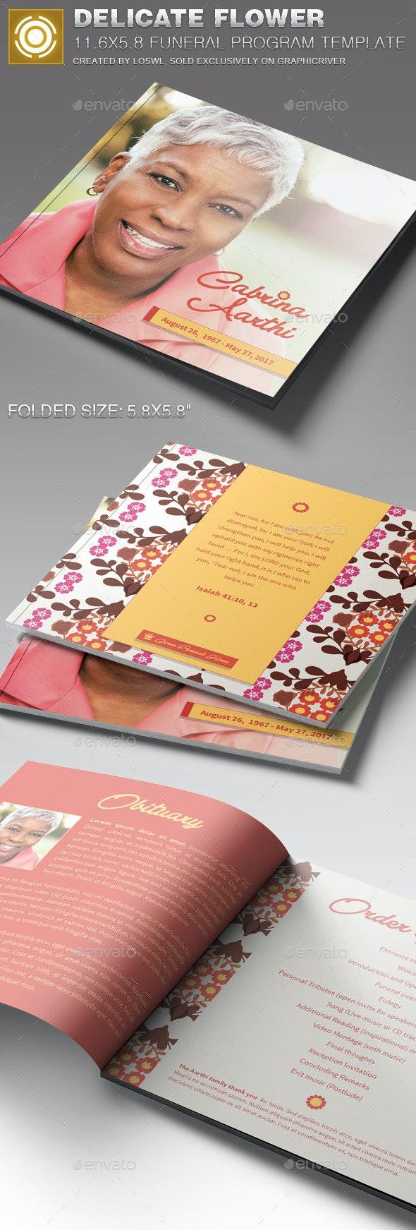 Delicate Flower Funeral Program Template - Informational Brochures