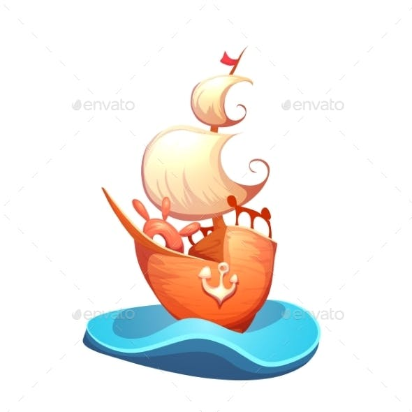 Vector Illustration Of Sail Ship In Sea