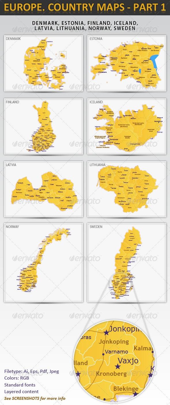 Europe. Country maps - part 1 - Miscellaneous Vectors