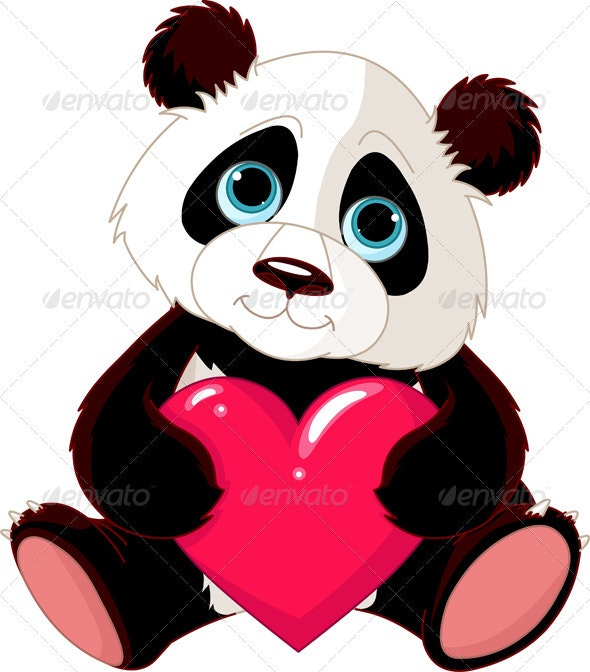 Cute Panda with heart - Valentines Seasons/Holidays