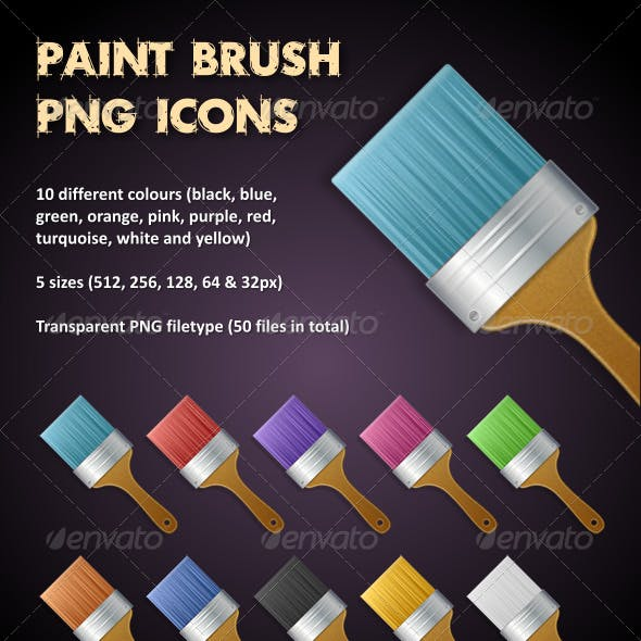 Multi Coloured Paint Brush PNG Icons