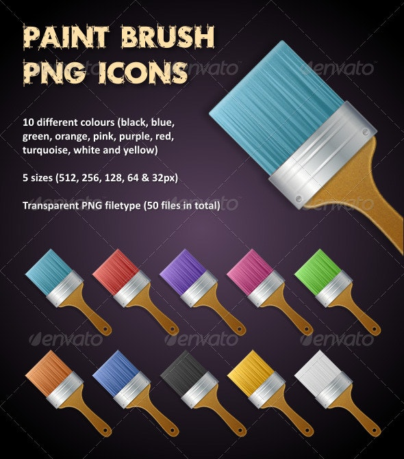 Multi Coloured Paint Brush PNG Icons - Man-made objects Objects