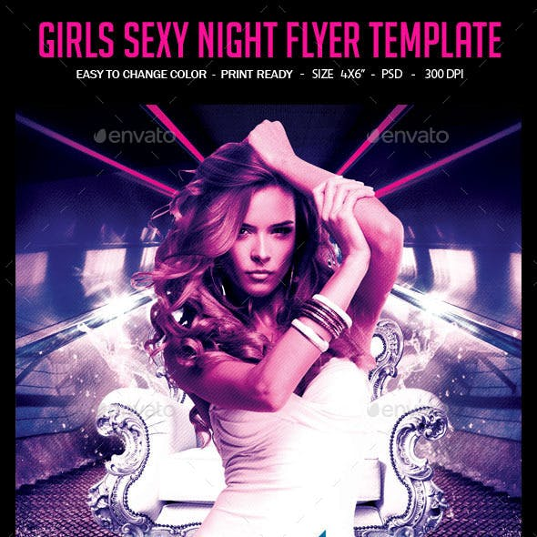 Girls Sexy Night Flyer Template
