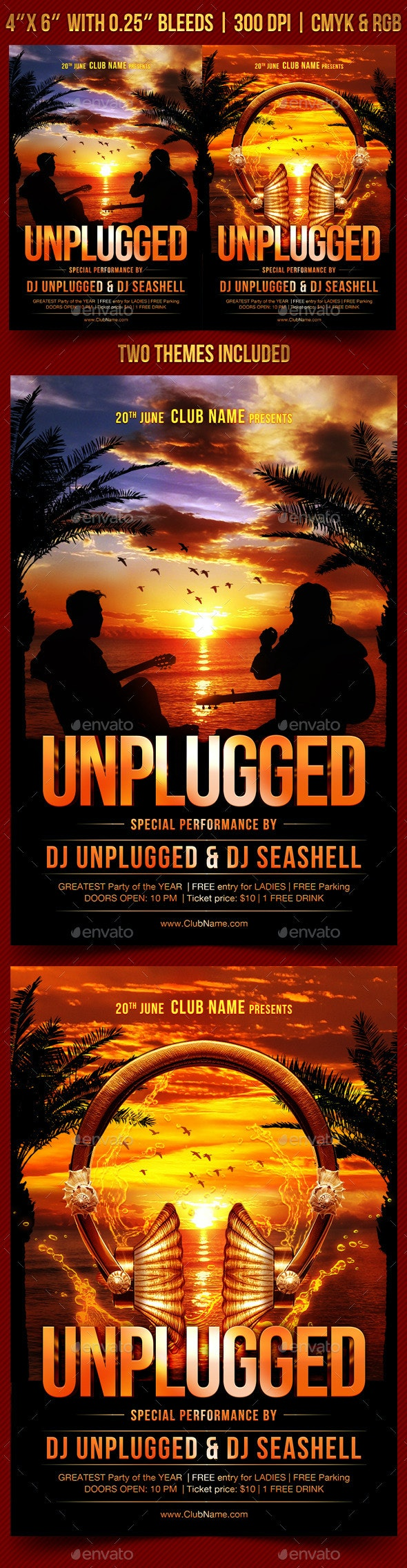 Unplugged Flyer Template - Clubs & Parties Events