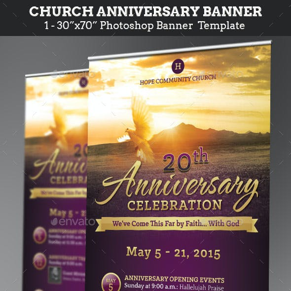 Church Anniversary Banner Graphics, Designs & Templates