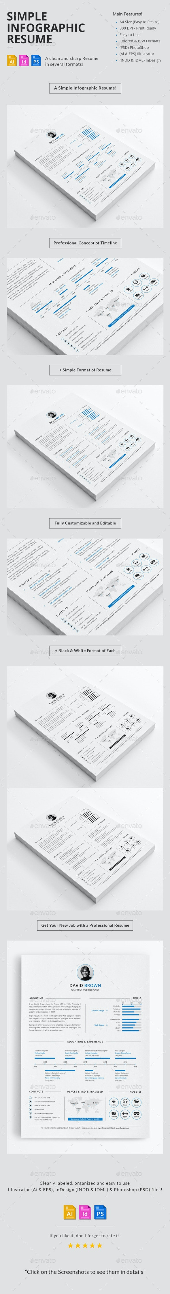 Simple Infographic Resume - Resumes Stationery
