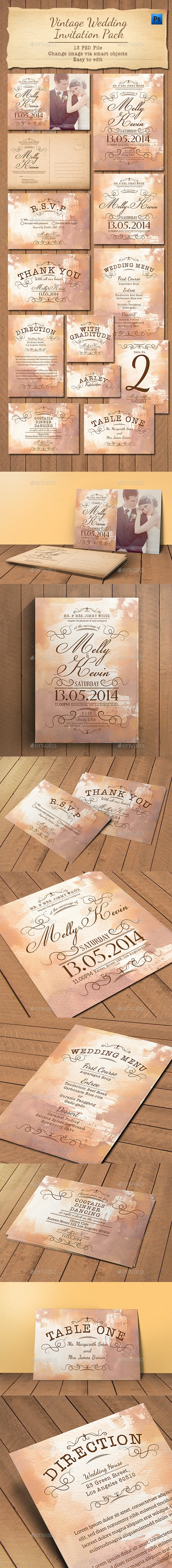 Vintage Wedding Invitation Pack - Weddings Cards & Invites