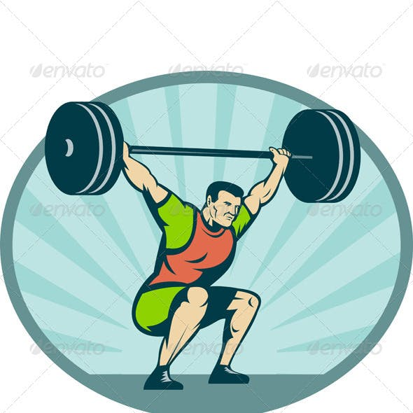 Weightlifter Body Builder Lifting Heavy Weight