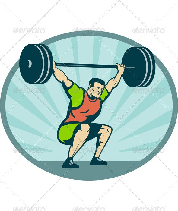 Weightlifter Body Builder Lifting Heavy Weight - People Characters