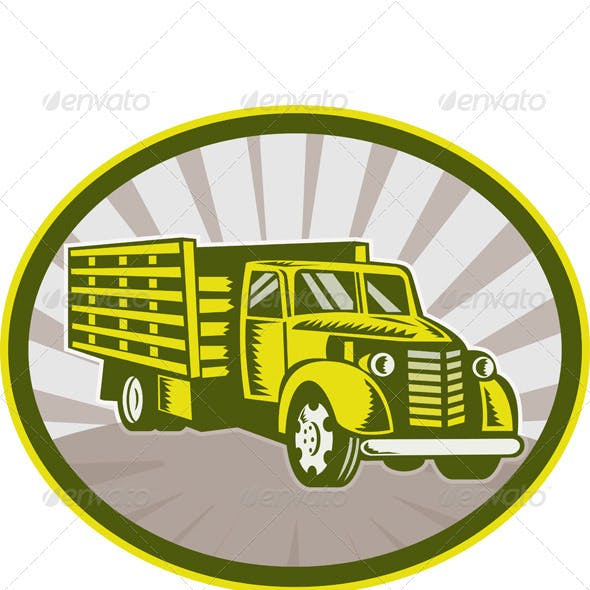 Vintage Pick Up Truck Retro Woodcut Style
