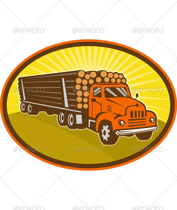 Vintage Logging Truck Retro Woodcut Style - Objects Vectors