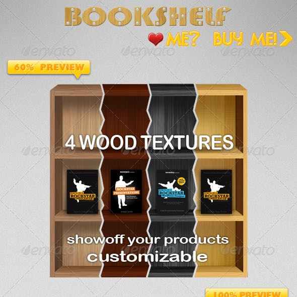 4 Different Wood Textured Bookshelf