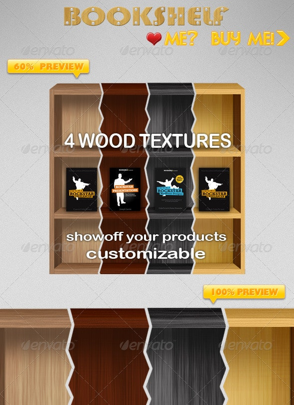 4 Different Wood Textured Bookshelf - Web Elements