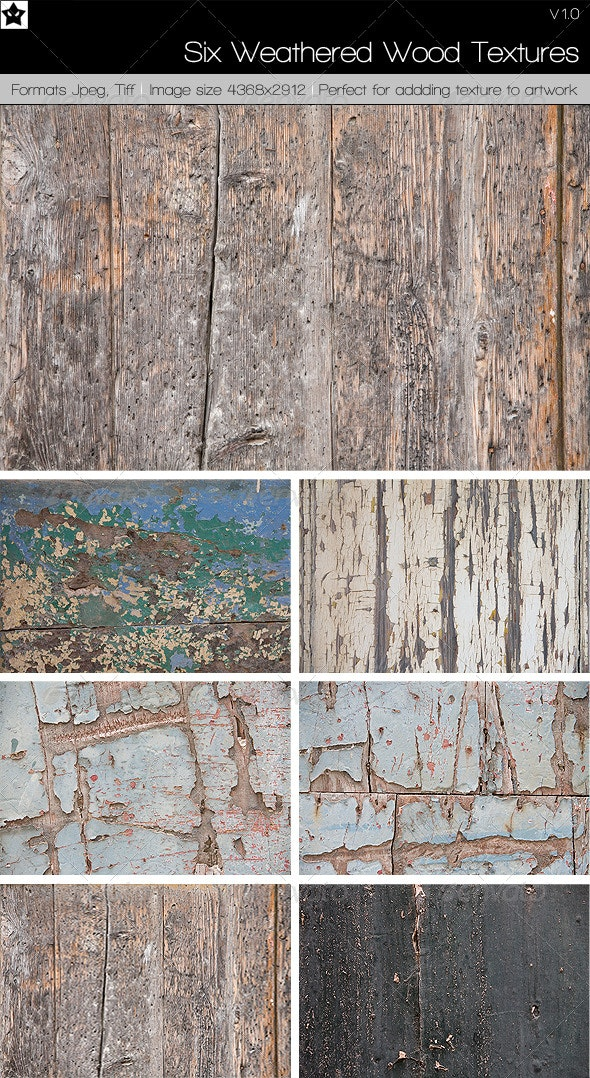 6 Weathered Wood Textures - Wood Textures