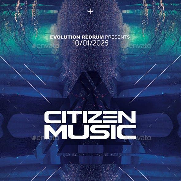 Citizen Music | Electro Night Flyer PSD Template