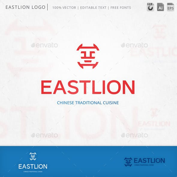 Eastlion Lion Cat Face Logo Template