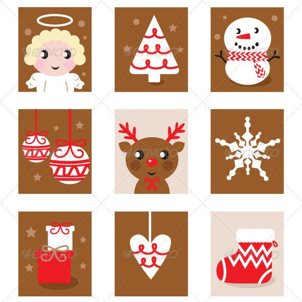 Christmas Characters Icons and Elements - Christmas Seasons/Holidays
