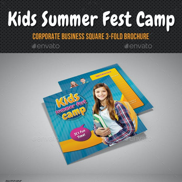 Kids Summer Camp Square 3-Fold Brochure