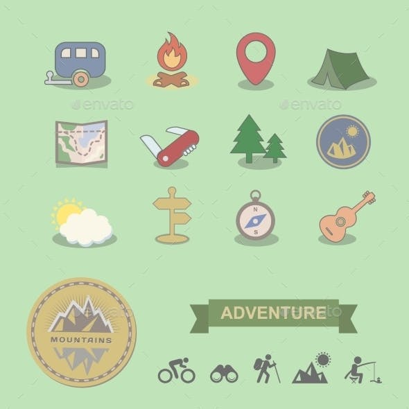 Set of Colored Camping Equipment Symbols