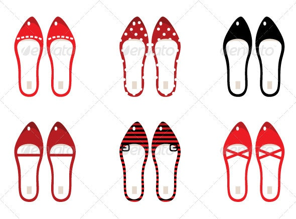 Retro Shoes Set Isolated on White - Black and Red - Man-made Objects Objects