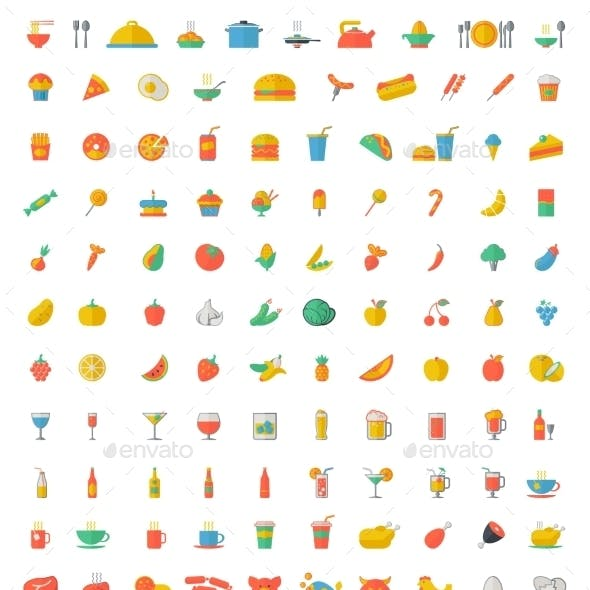 Food And Beverages Flat Icons.