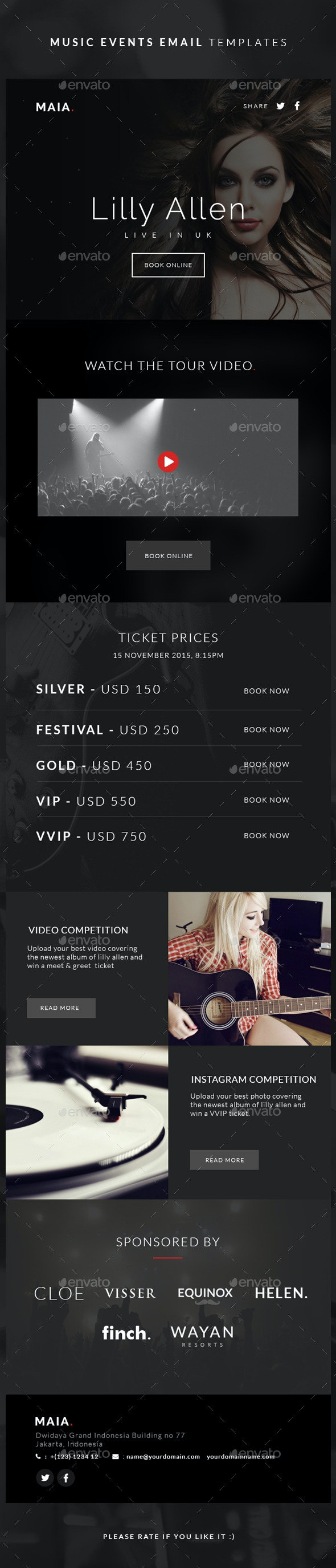 Music Events Email Templates - Maia - E-newsletters Web Elements