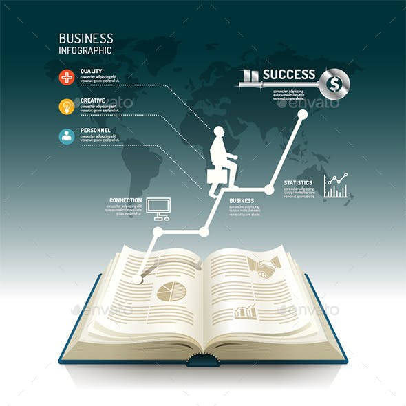 Open Book Infographic Business Step Paper Graph