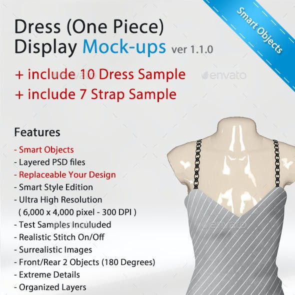 Dress (One-Piece with Strap) Display Mock-Ups