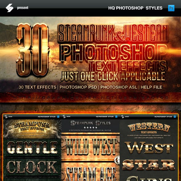 Steampunk and Western Text Effects Bundle