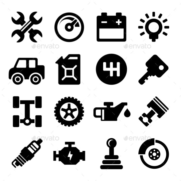 Auto Repair Service Icons - Technology Icons