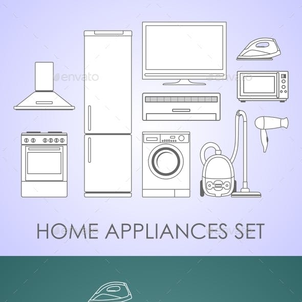Set of Household Appliances in Thin Line Style