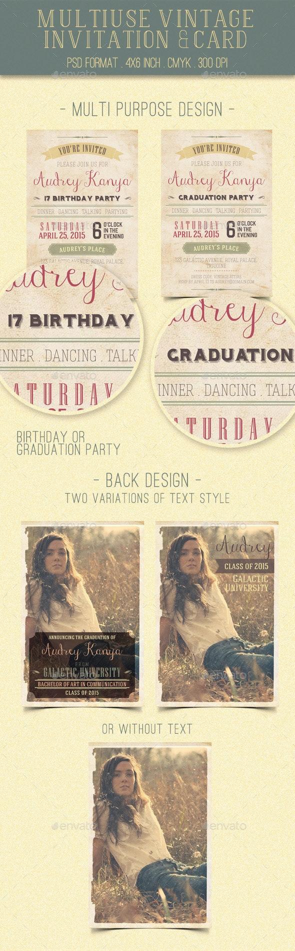 Multiuse Vintage Invitation & Card - Cards & Invites Print Templates