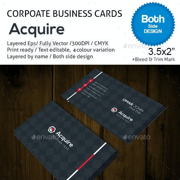 Acquire 4 Corporate Business Cards